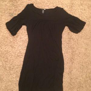 3/4 sleeve black cotton dress